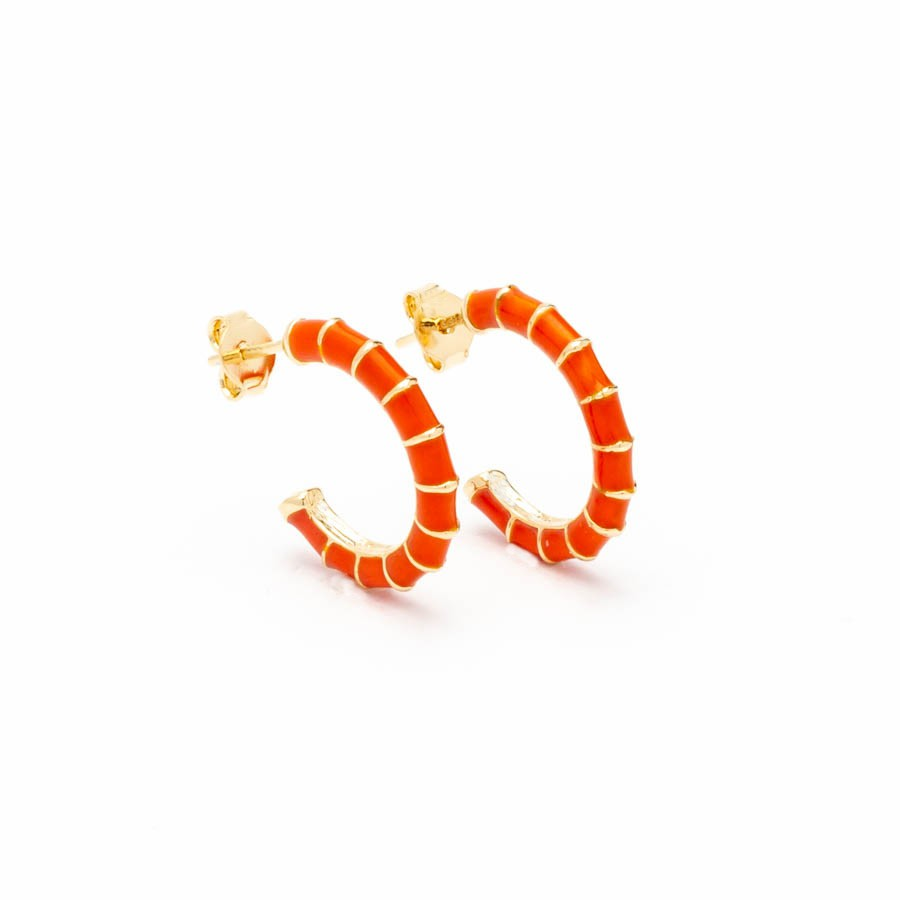 Brinco argola resina laranja pequeno banhado ouro18k