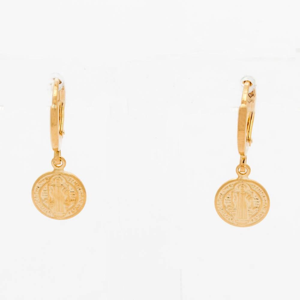 Brinco argolinha são bento banhado ouro 18k