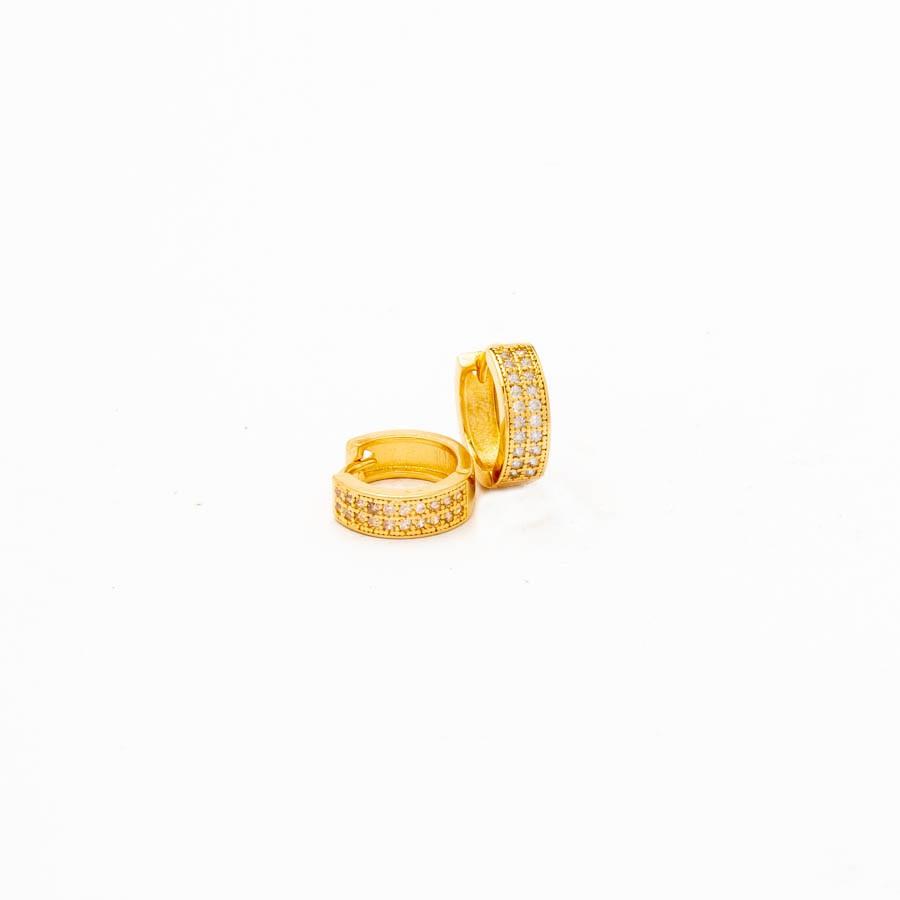 Brinco Clic Articulado Cravejado Banhado Ouro 18k