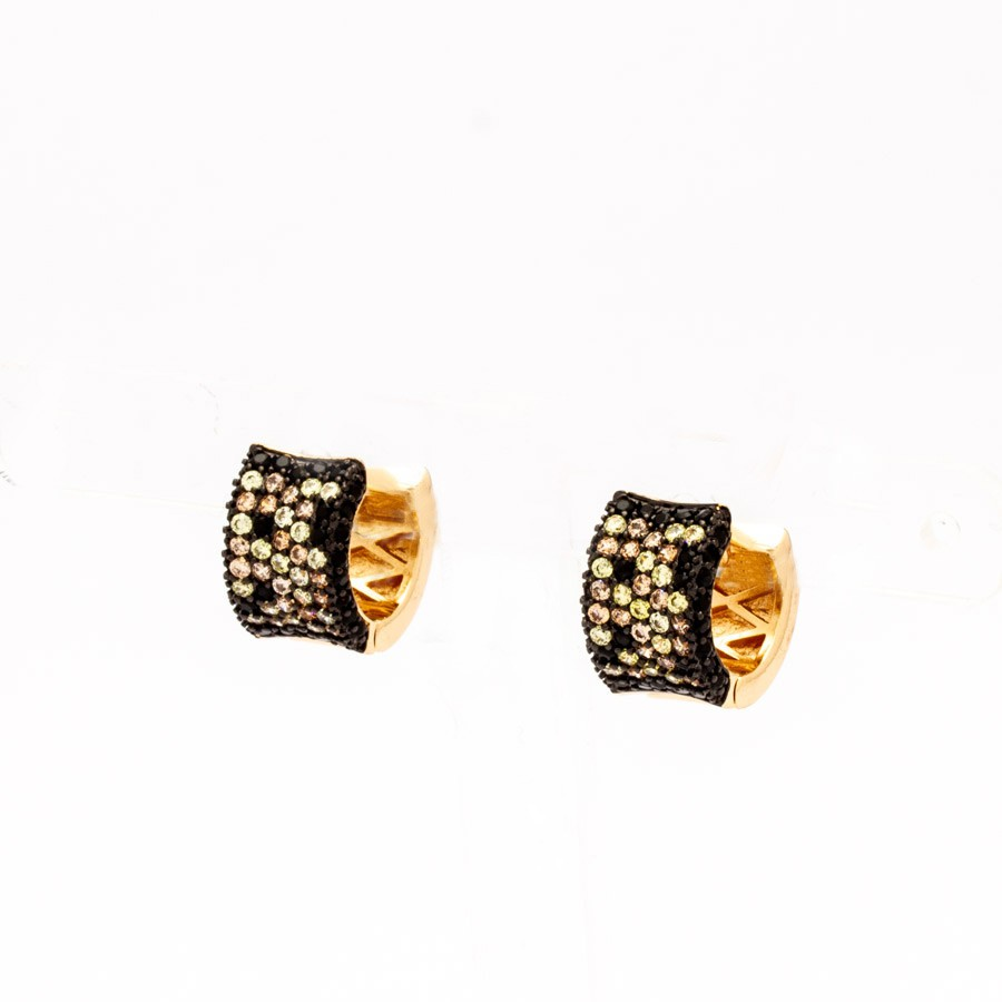 Brinco clic  crav. zirconia dourada banhado ouro 18 k