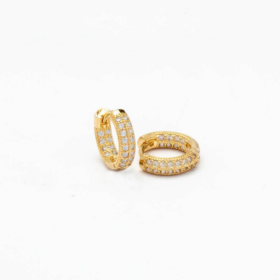 Brinco Clic cravejado Zirconia  M Banhado ouro 18k
