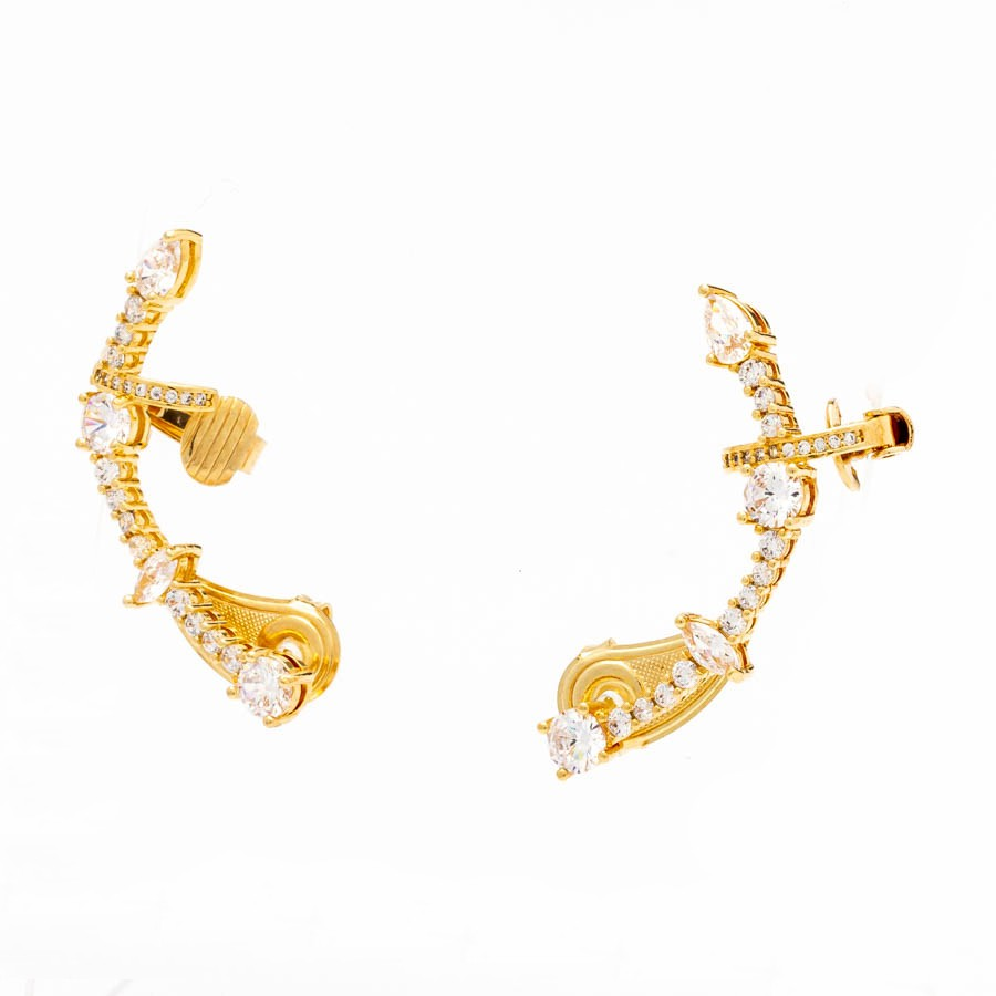 Brinco ear cuf  cristal branco banhado ouro 18k