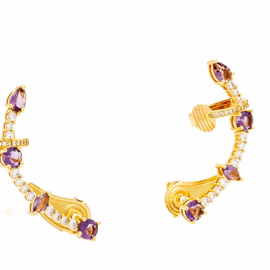 Brinco ear cuff cristal colors banhado ouro 18k