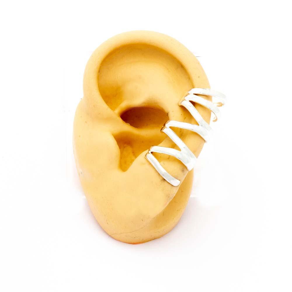 Brinco Ear Cuff Banhado em Prata