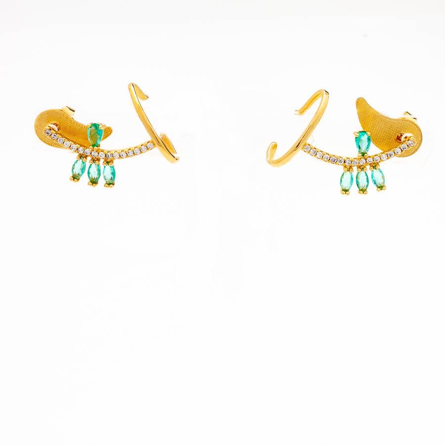Brinco Ear Cuff  Cravejado Gotas  Banhado em Ouro 18k