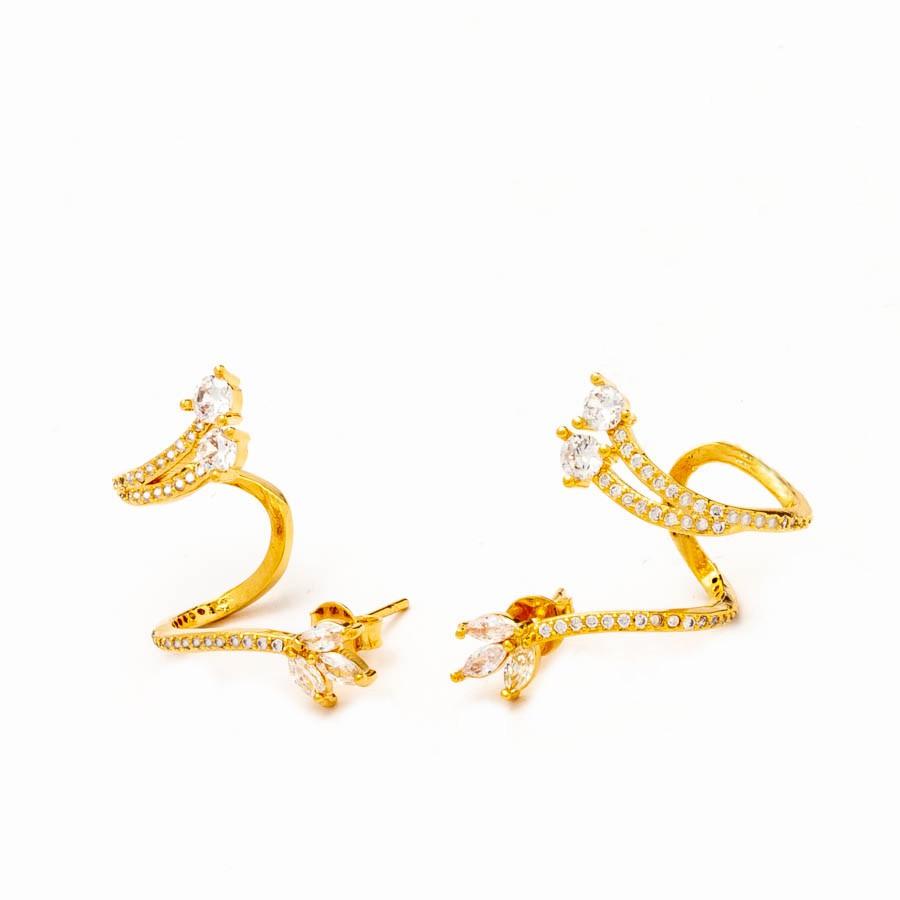 Brinco  Ear Cuff Flor Cravejado Banhado Ouro 18k