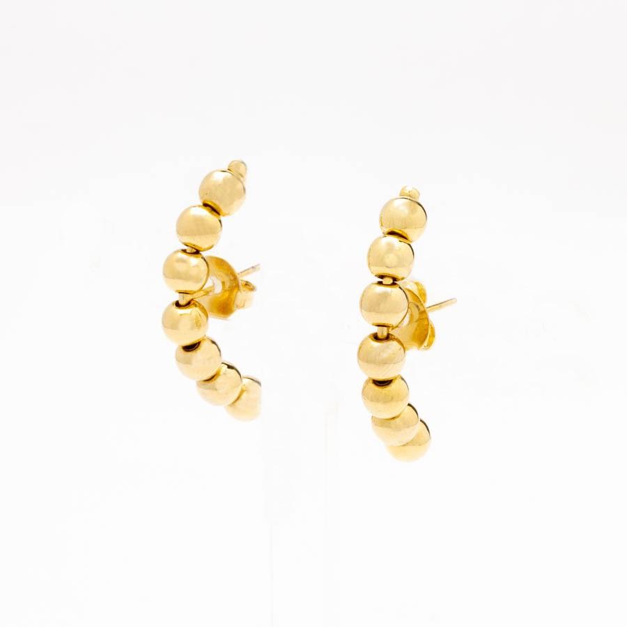 Brinco Ear Hook 7 bolinhas banhado a ouro 18k