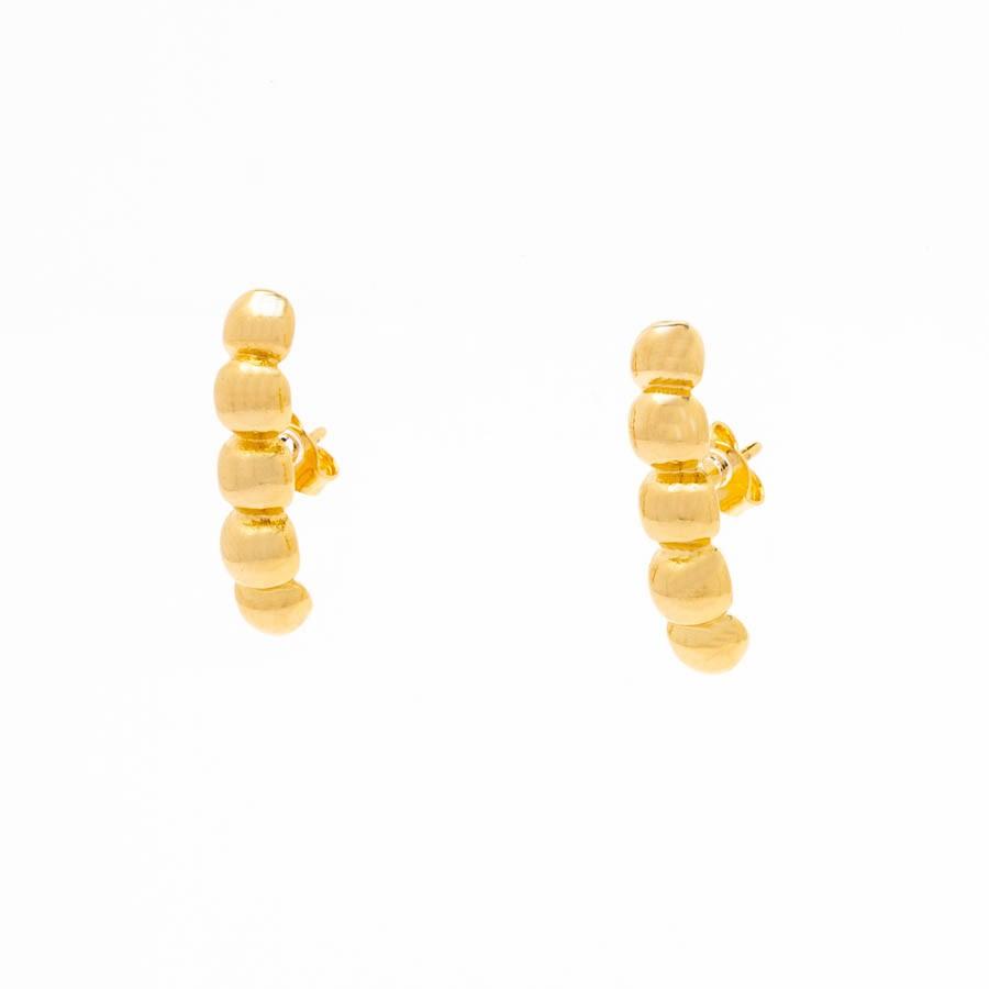 Brinco Ear Hook  de Esferas Banhado Ouro 18k