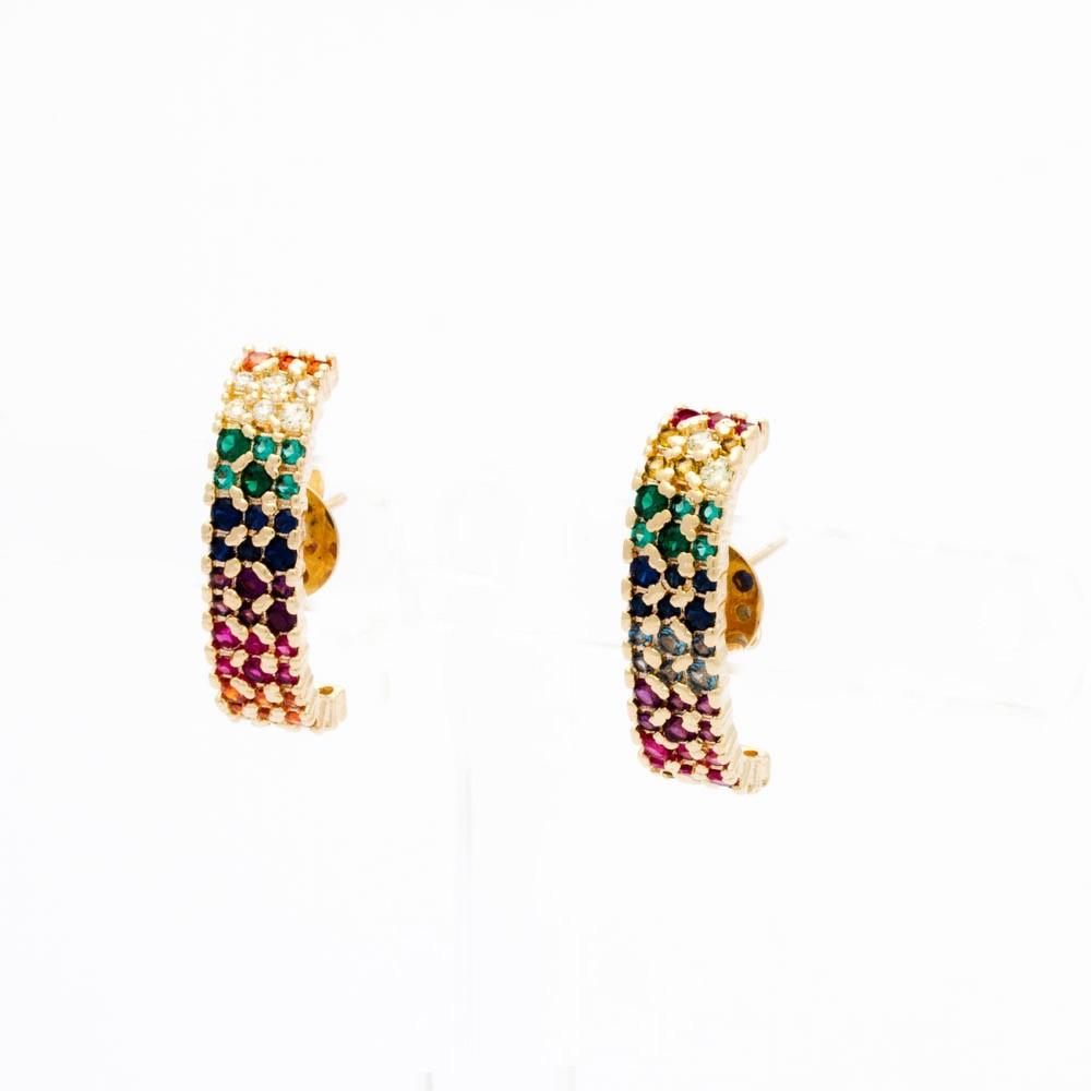 Brinco Ear Hook Rainbow 3 Fileiras Banhado ouro18k
