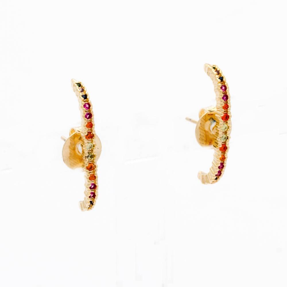 Brinco Ear Hook  Rainbow Banhado ouro18k