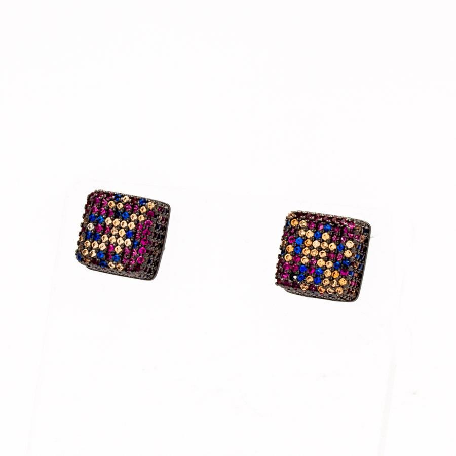 Brinco quadrado crav. zirconia Colorida banhado Ródio negro