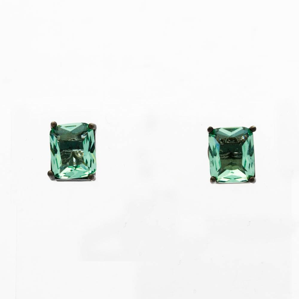 Brinco retangulo cristal verde banhado Ródio negro