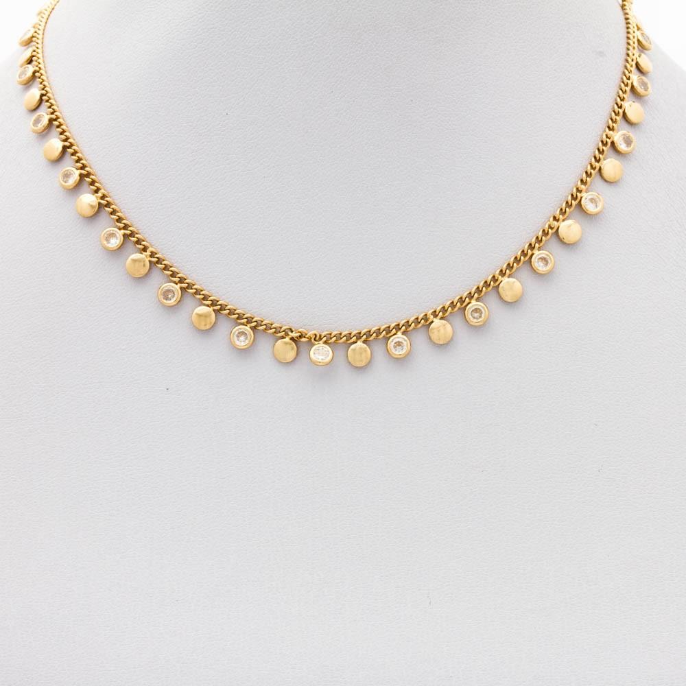 Choker cristal pendurados banhado ouro 18k