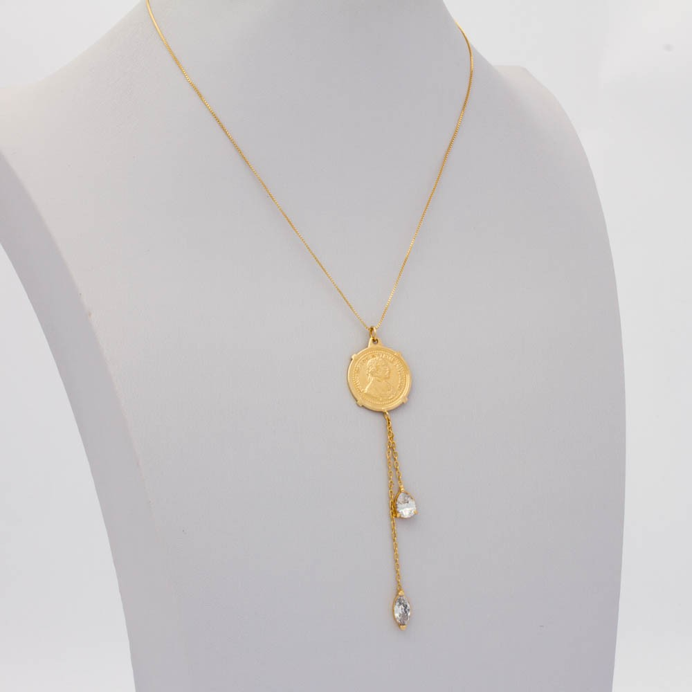 Choker Cristal  Veneziana Medalha banhada ouro18k