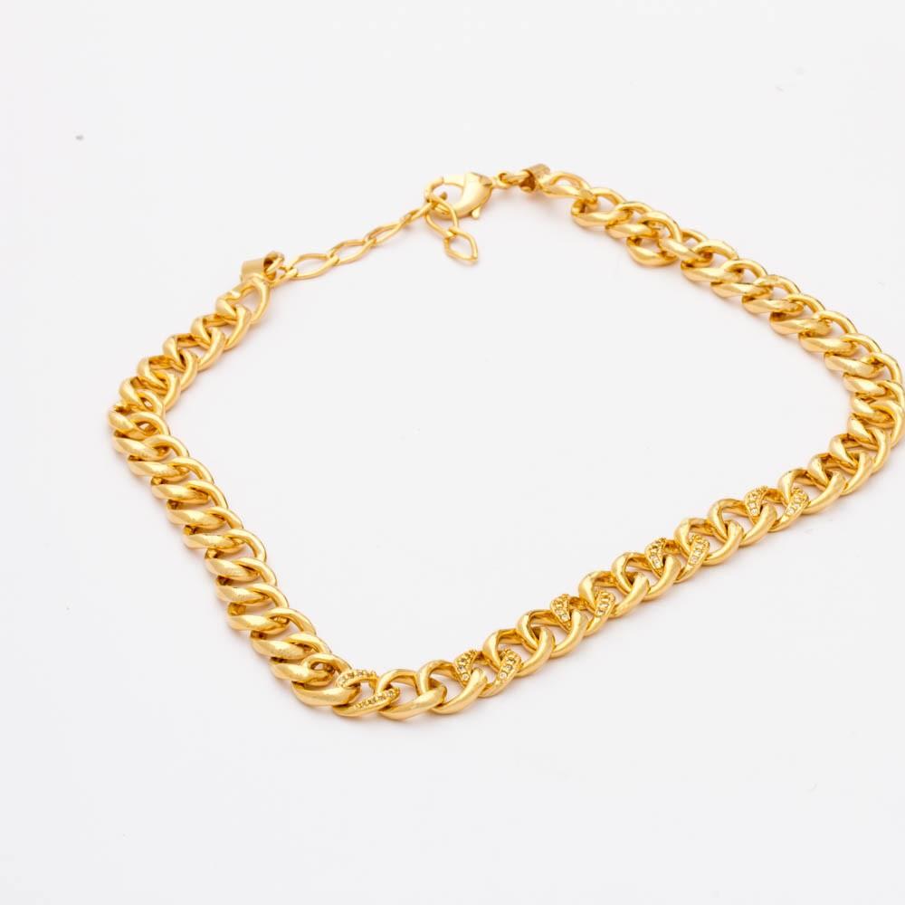 Choker elos grumet cravejados banhado ouro 18k