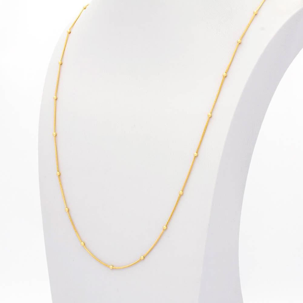 Colar bolinha 70 cm banhado em ouro 18k