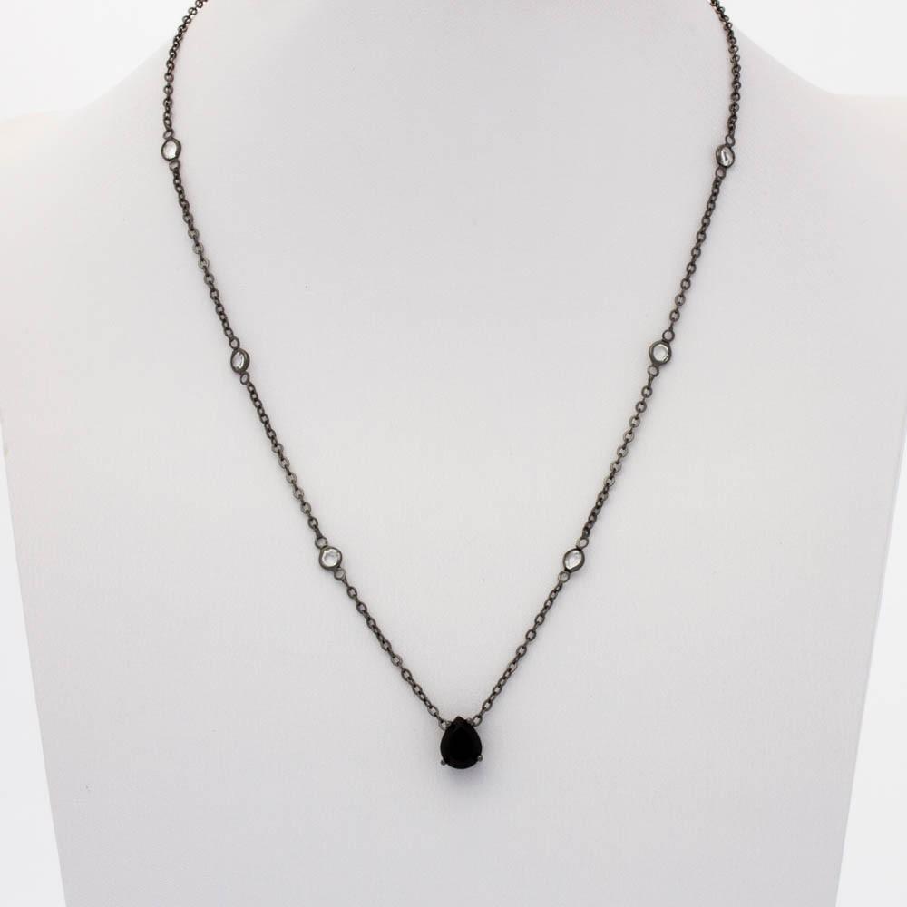 Colar cristal gotas c/cristais de tiffany banhado em ródio negro
