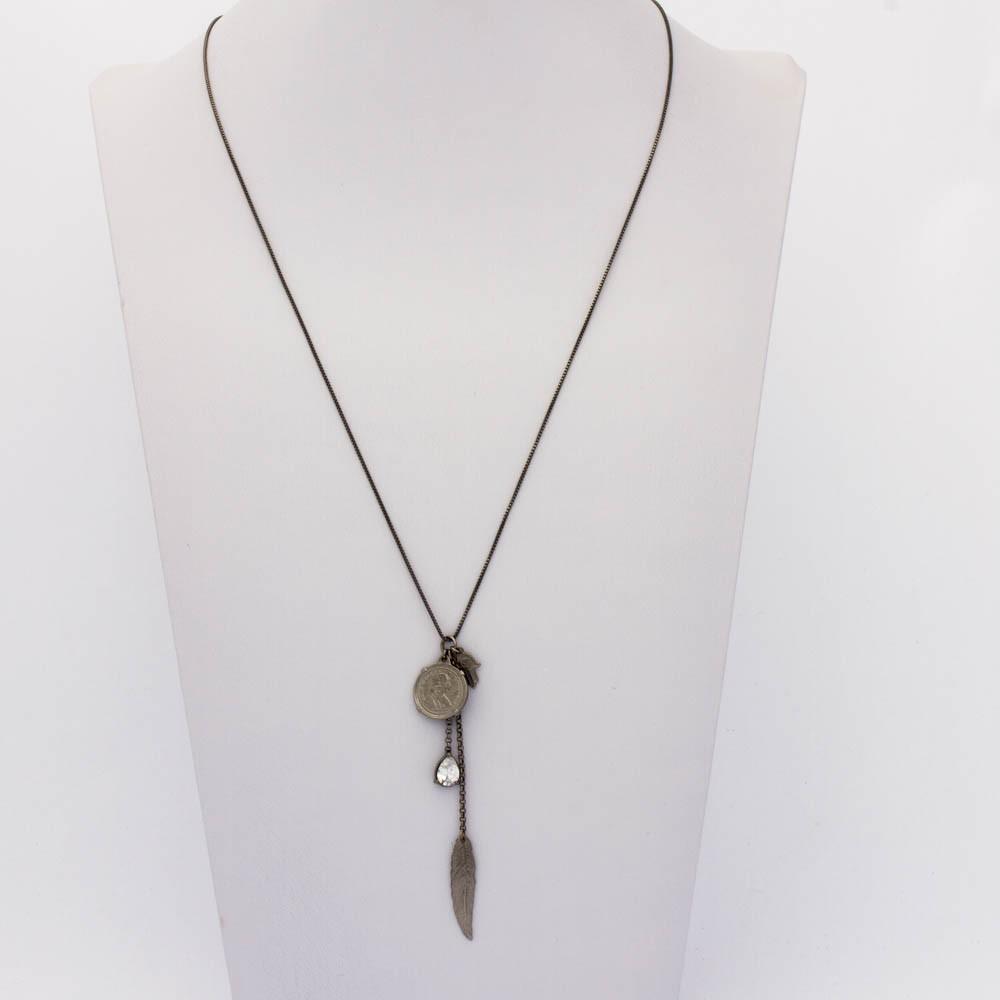 Colar cristal Longo veneziana c/ Medalha gota cristal banhado em ródio negro