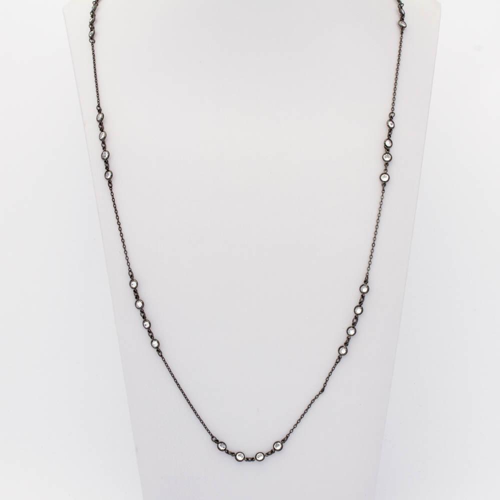 Colar cristal tiffany intercalada 4 cristais banhada em ródio negro