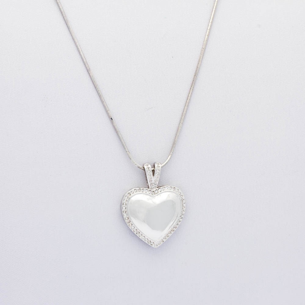 Colar Diamantado Coração Banhado Rodio Branco