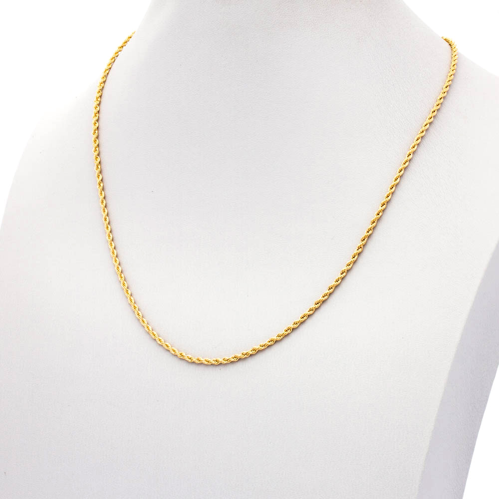 Colar Elo baiano banhado ouro 18 k  2 mm