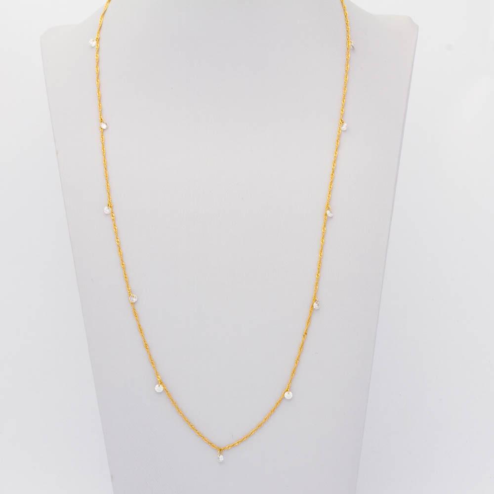 Colar Elo corda cristal longo 70 cm 11 cristais banhado em ouro 18k