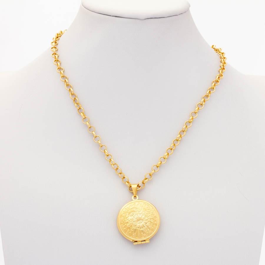 Colar elo português c/ relicário banhado em  ouro 18k