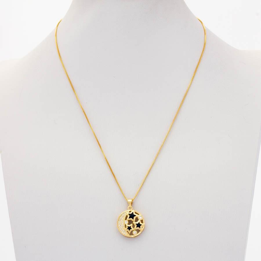Colar Estrela Mandala Banhada Ouro 18k