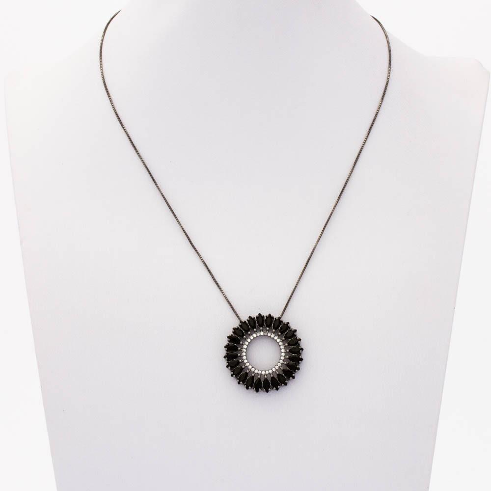 Colar mandala cristal colar e zirconia banhado ródio negro