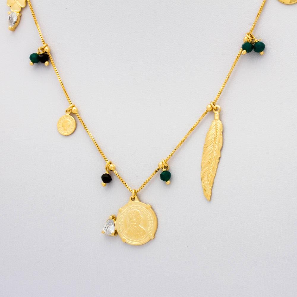 Colar Veneziana Cristal bolinhas coloridas c/ medalhas e pena banhado em ouro 18k