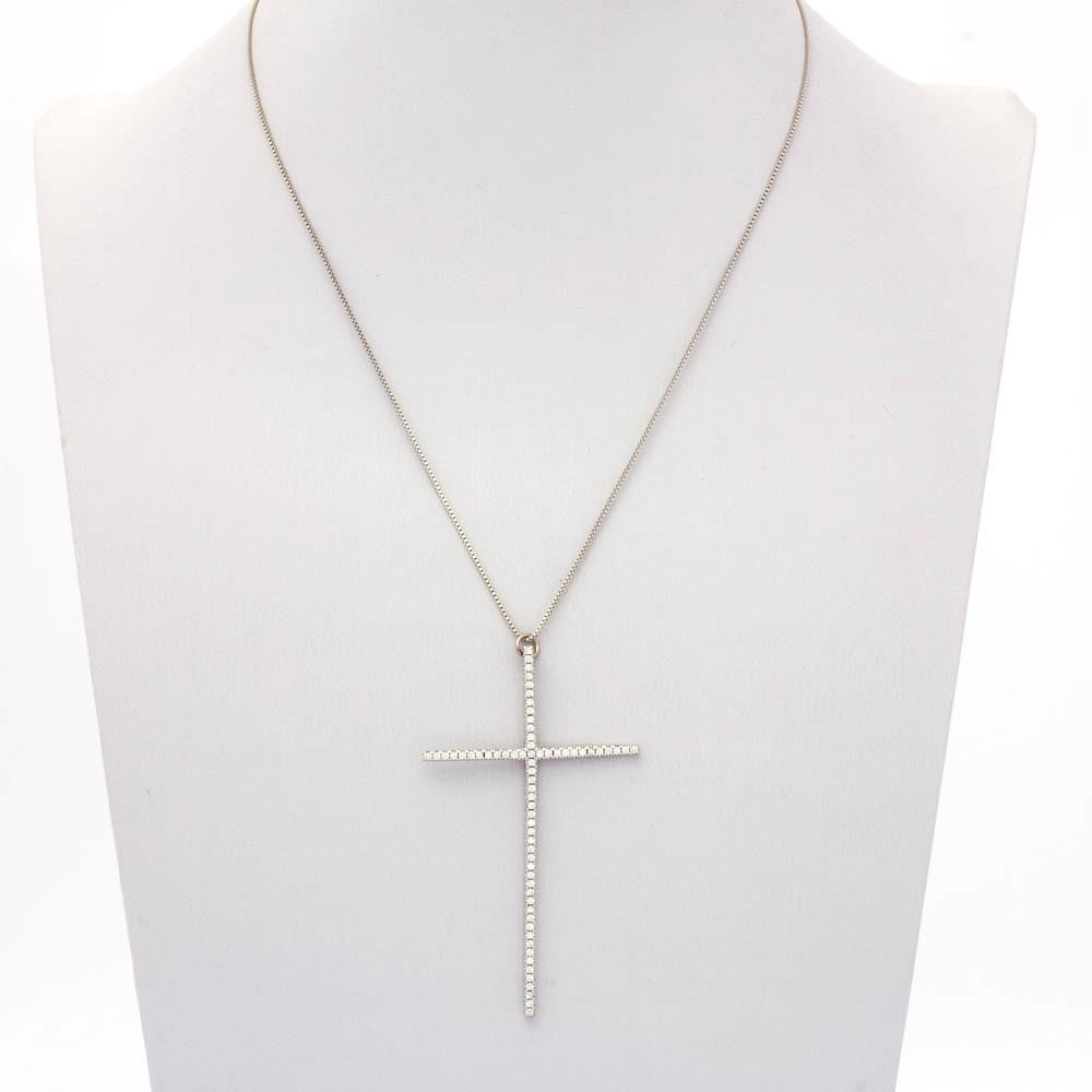 Colar veneziana crucifixo grande banhado em ródio branco