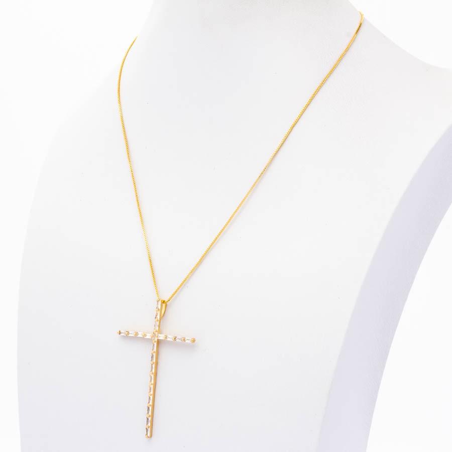 Colar veneziana cruz palito navete banhado em ouro 18k