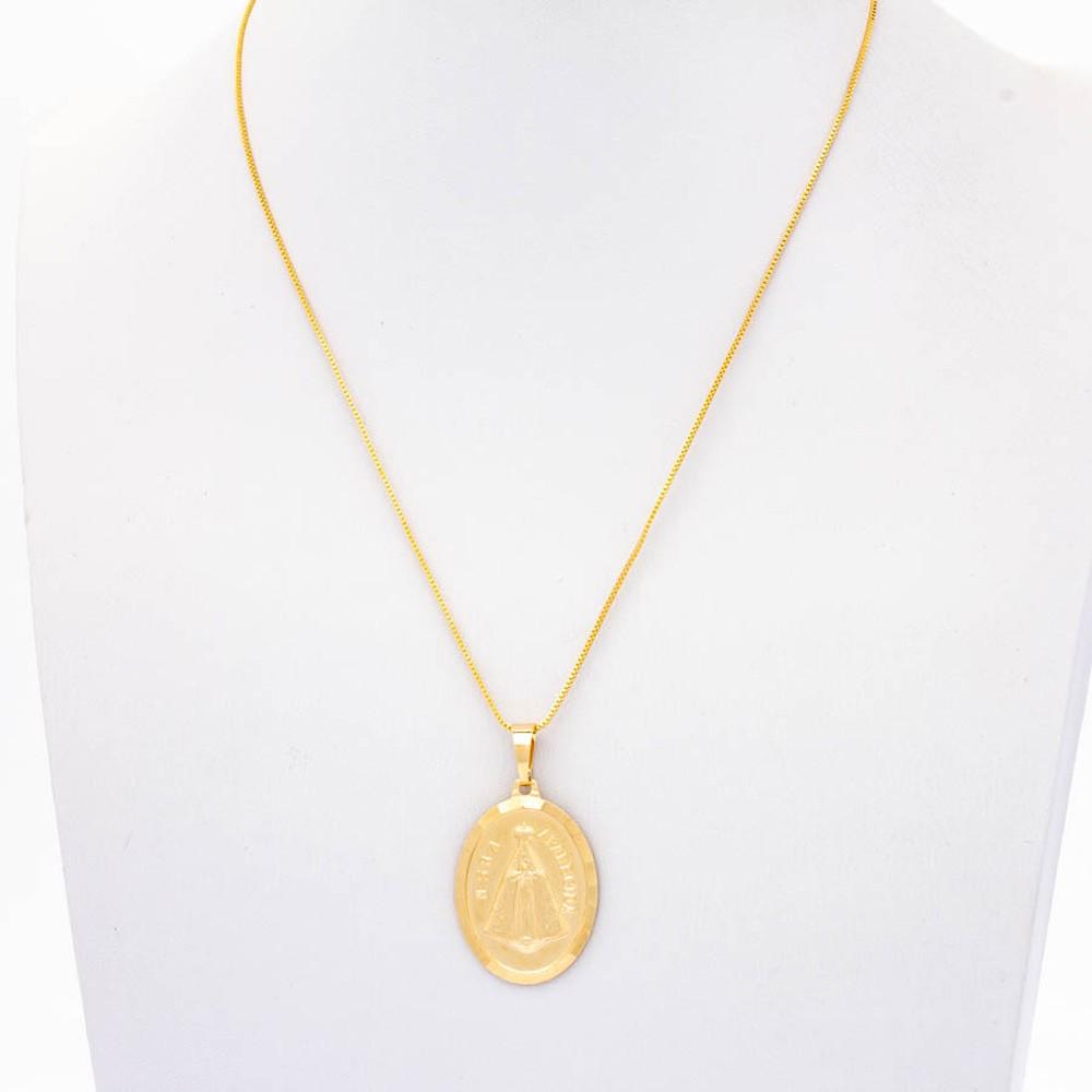 Colar Veneziana Medalha Nossa Senhora Banhado Ouro18k