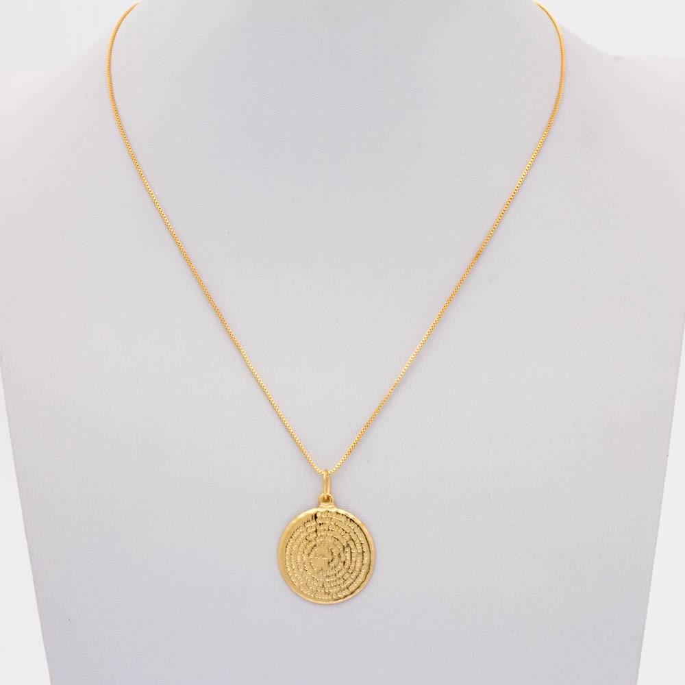 Colar veneziano medalha pai banhado ouro 18k
