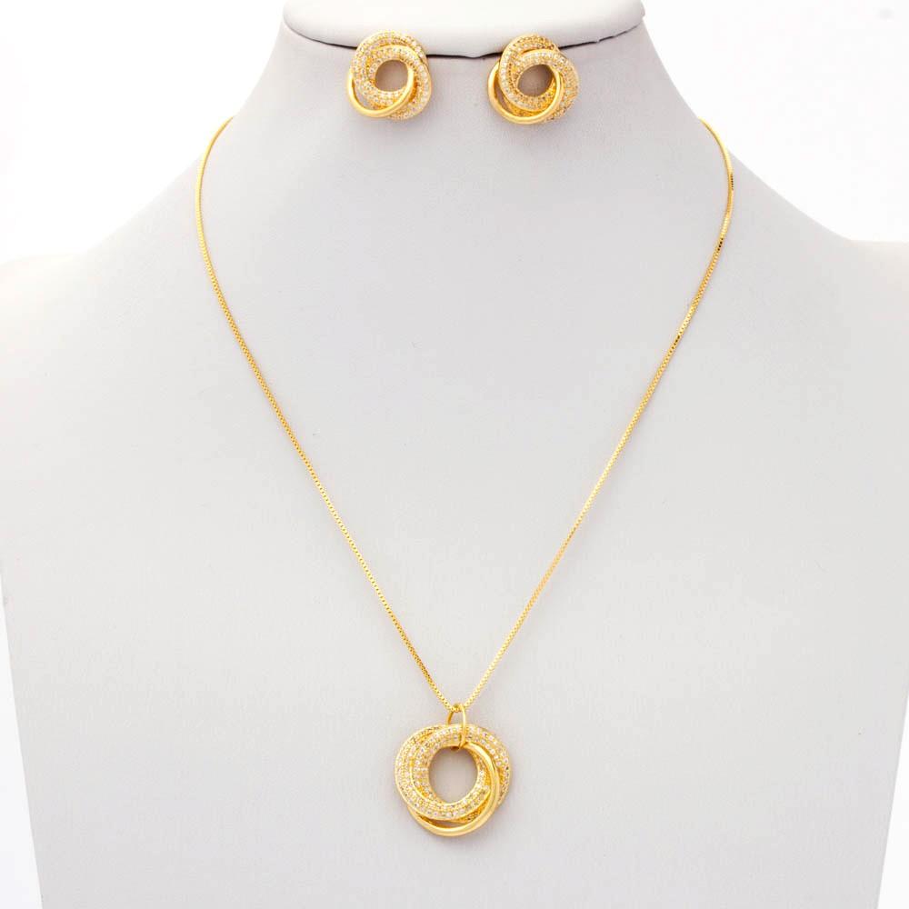 Conjunto colar e brinco cravejados banhado ouro 18k