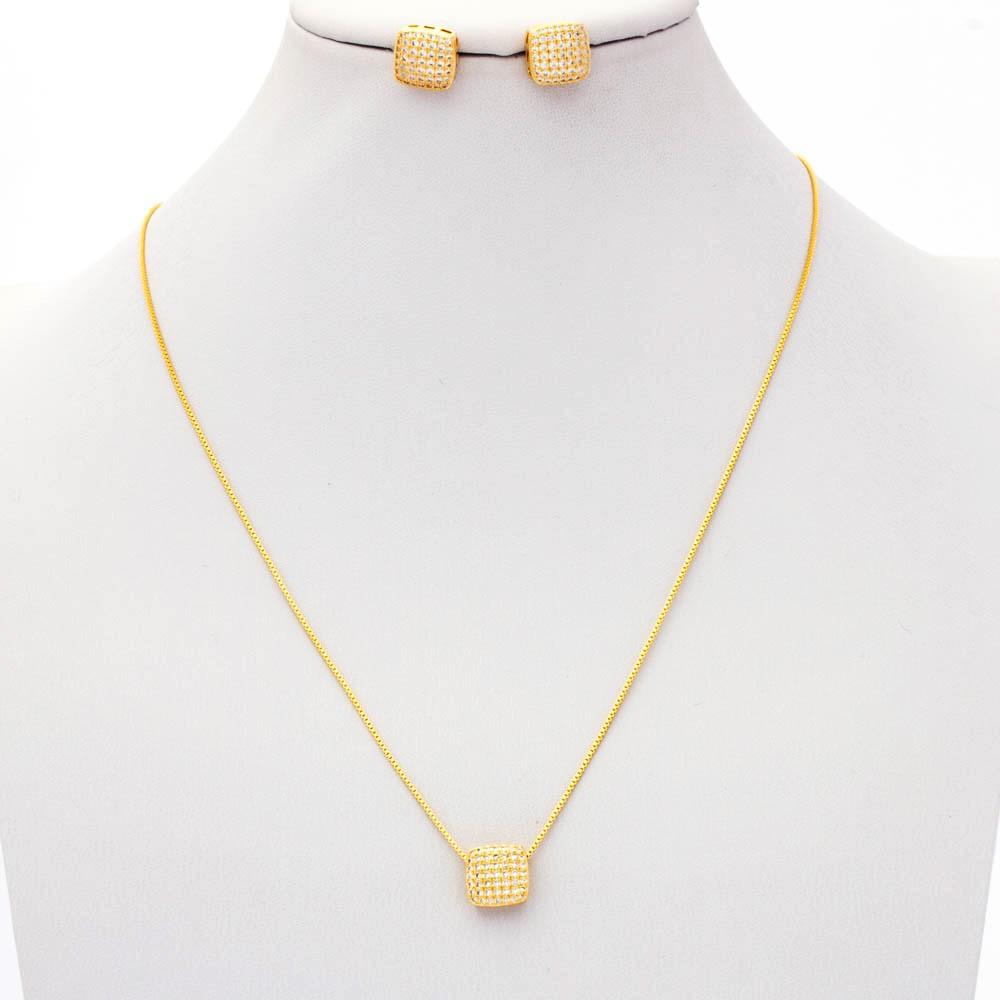 Conjunto colar e brinco  quadrado cravejado zirconia banhado em ouro 18k