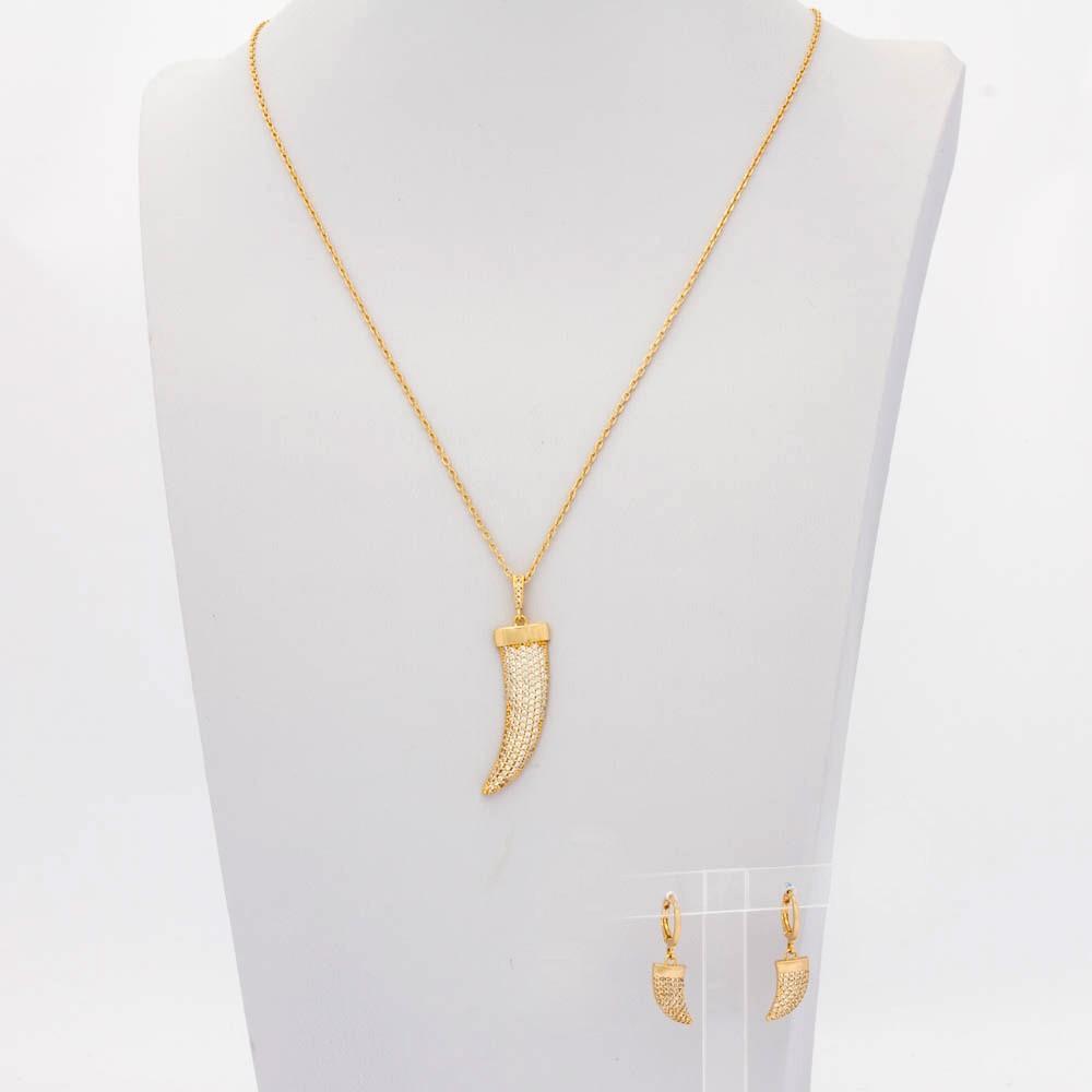 Conjuto Dente de Sabre cravejado em Zirconia Colar e Brinco Banhado em  ouro 18 k