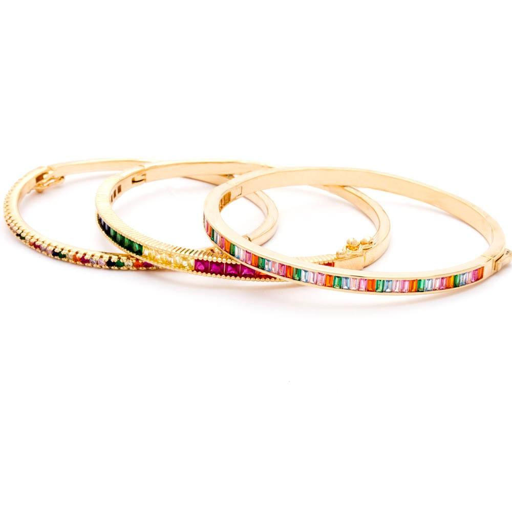 Kit Braceletes Rainbow Banhado Ouro 18k
