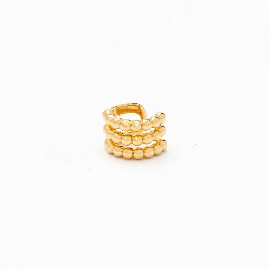 Piercing 3 Filas Bolinhas Banhado Ouro 18k