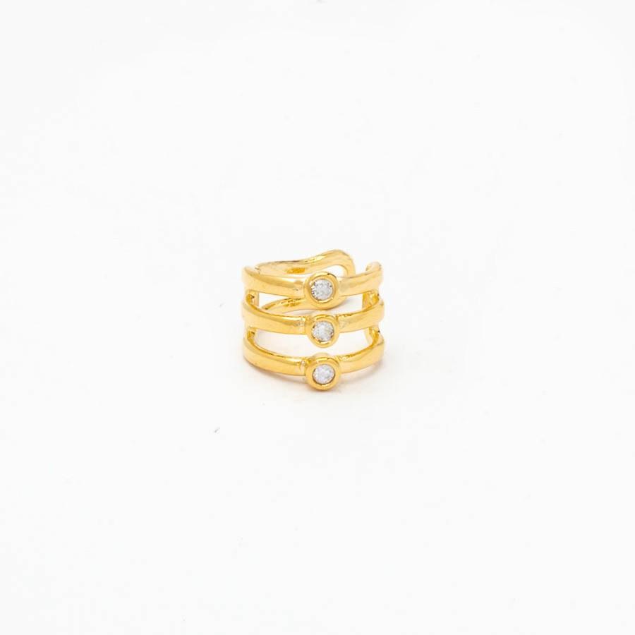Piercing  3 Zirconias  Banhado Ouro 18k