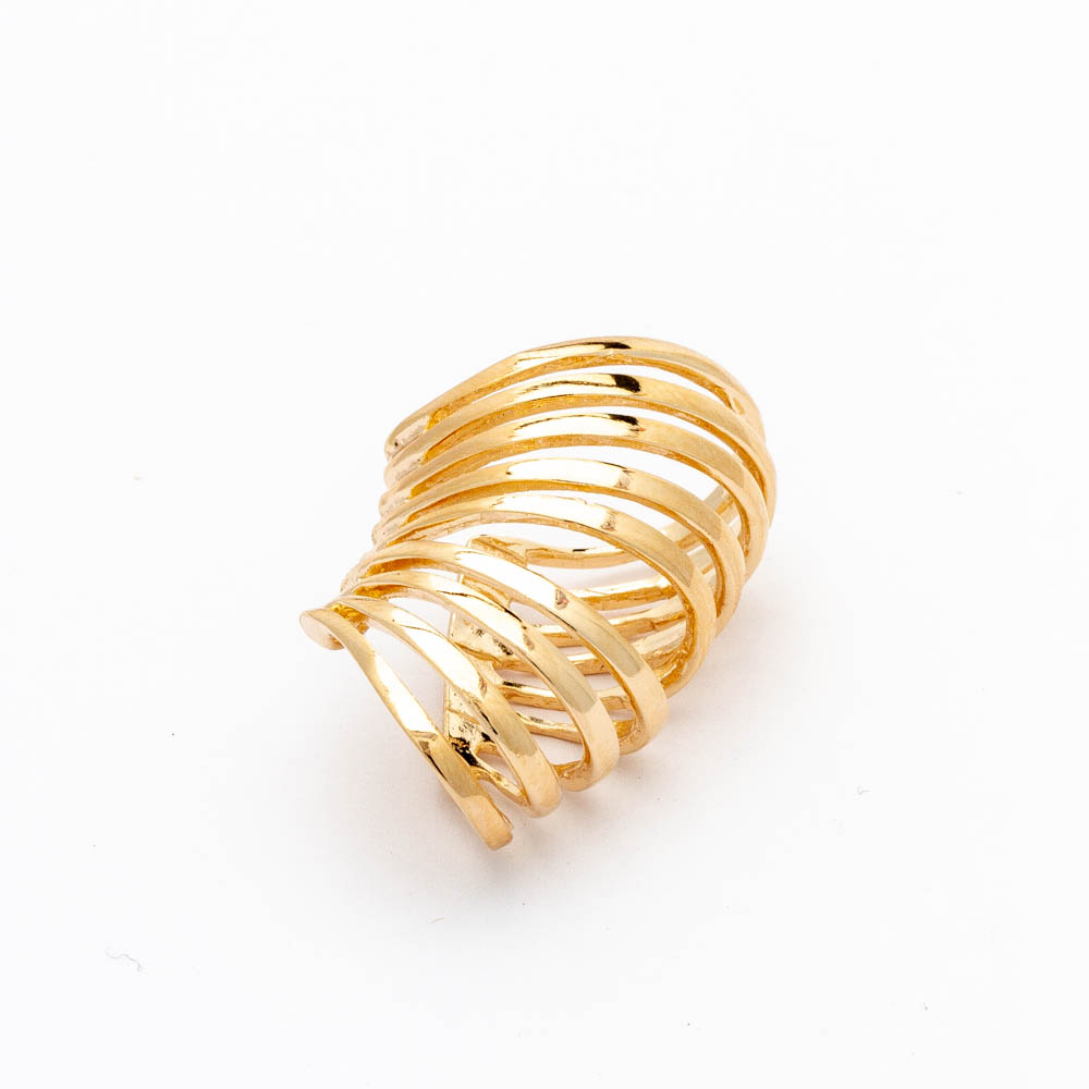 Piercing de Pressão com Design de Espiral Banhado em Ouro18K