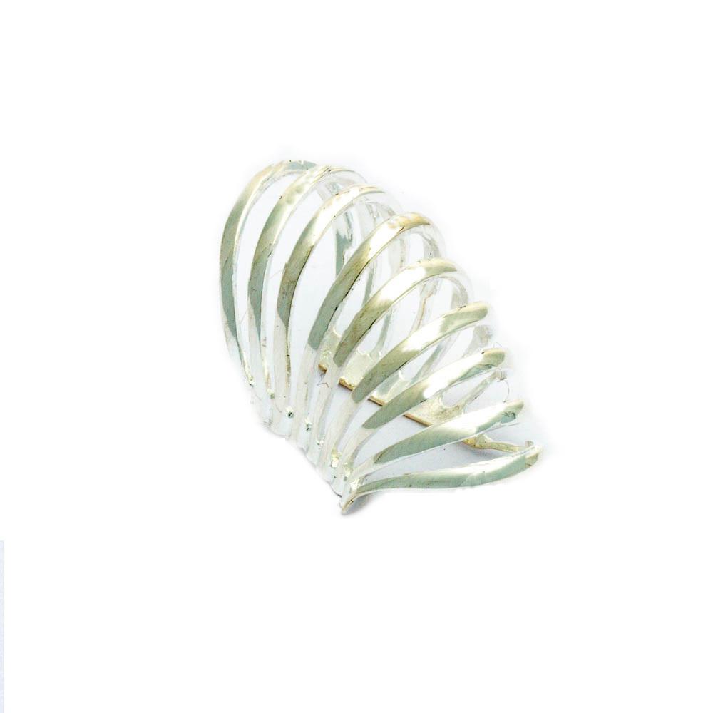 Piercing de Pressão com Design de Espiral Banhado em Prata