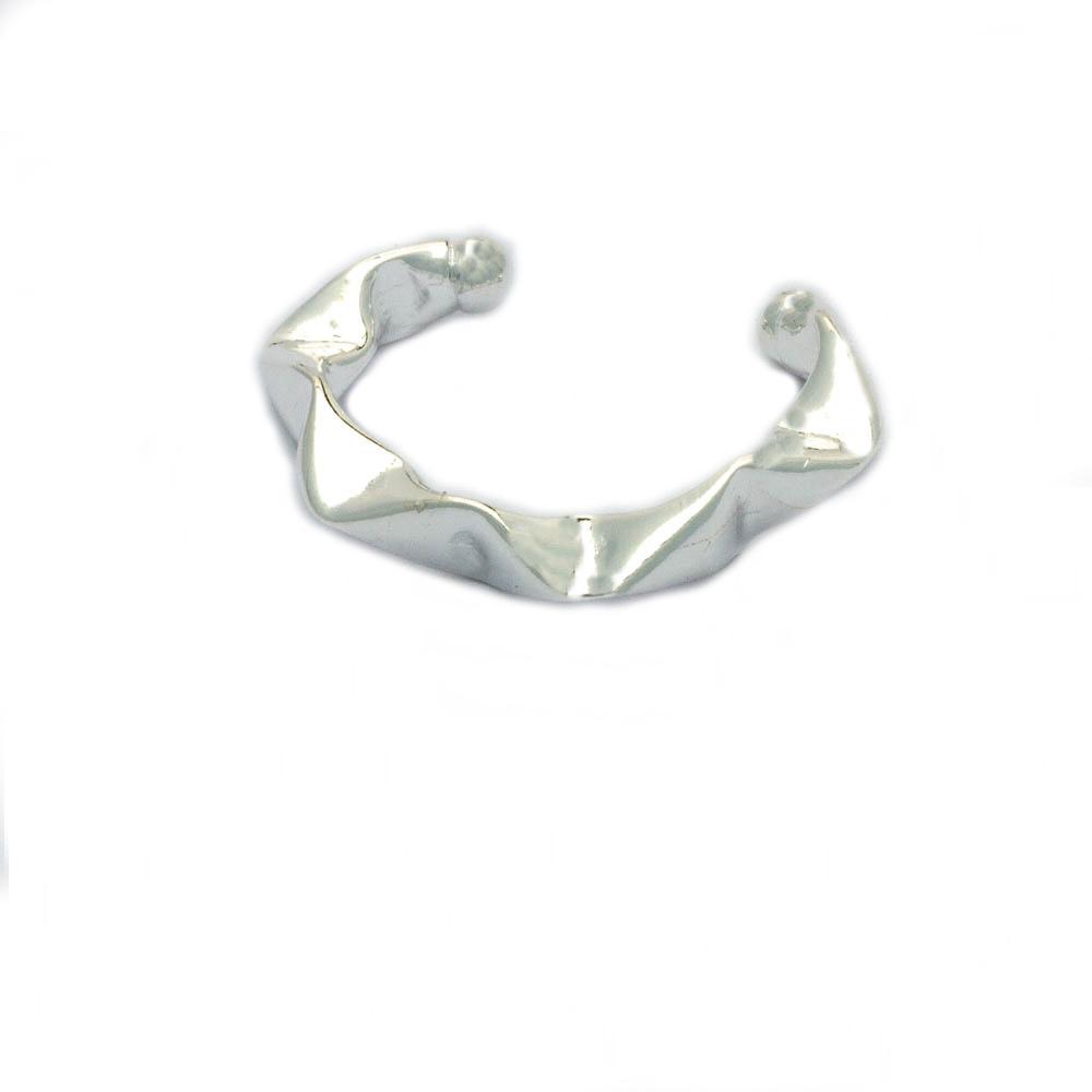 Piercing Fake de Pressão Maxi Ondulado Banhado em Prata