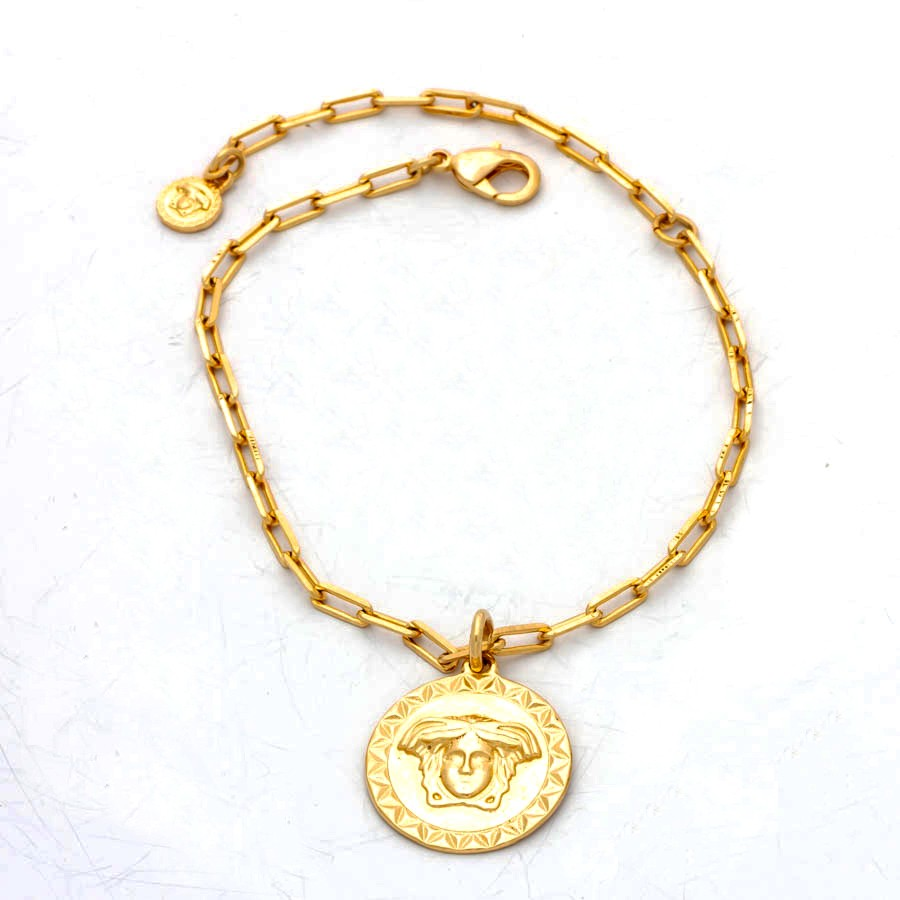 Pulseira elo cartier medalha medusa banhada em ouro 18K