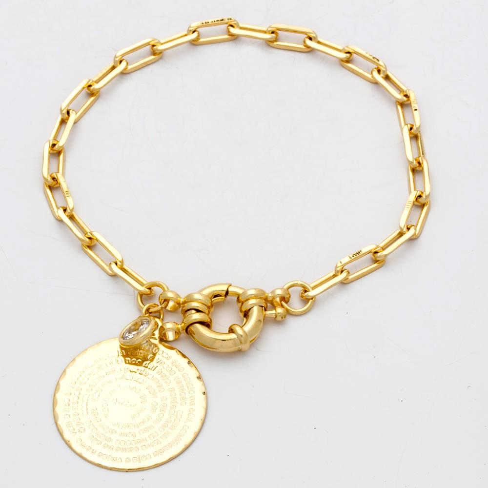 Pulseira elo cartier medalha pai nosso banhado em ouro 18k