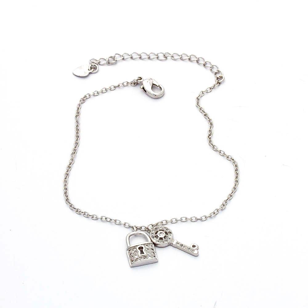 Pulseira Chave e Cadeado Cravejado Banhado  Rodio Branco