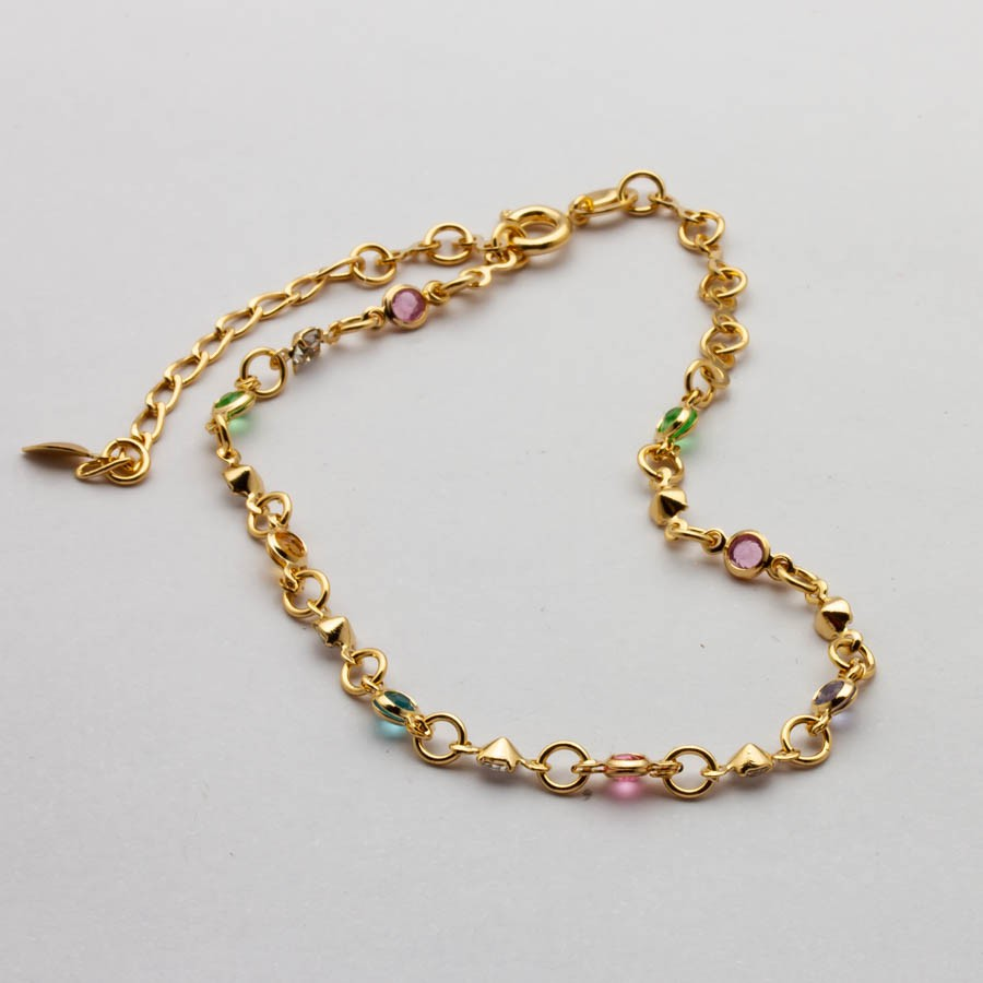 Pulseira cristais colorido banhado em ouro 18k