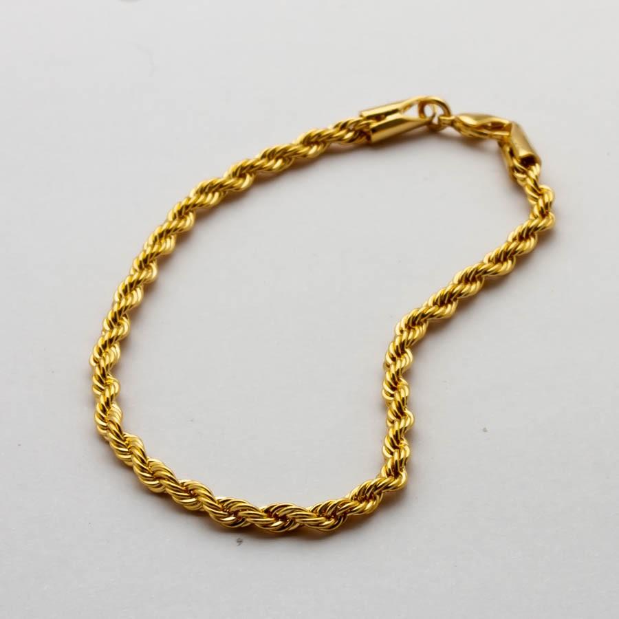 Pulseira elo baiano fina banhado em ouro 18K 3mm