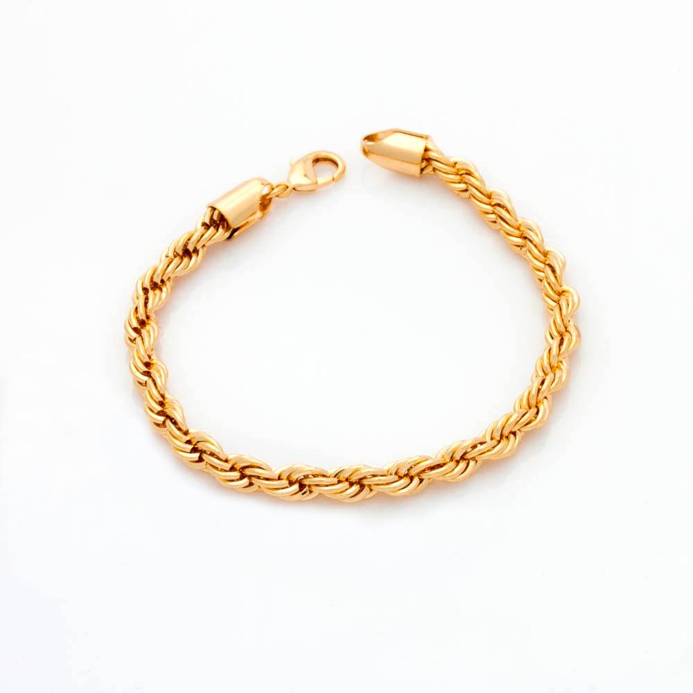 Pulseira elo baiano grossa banhado em ouro 18 k