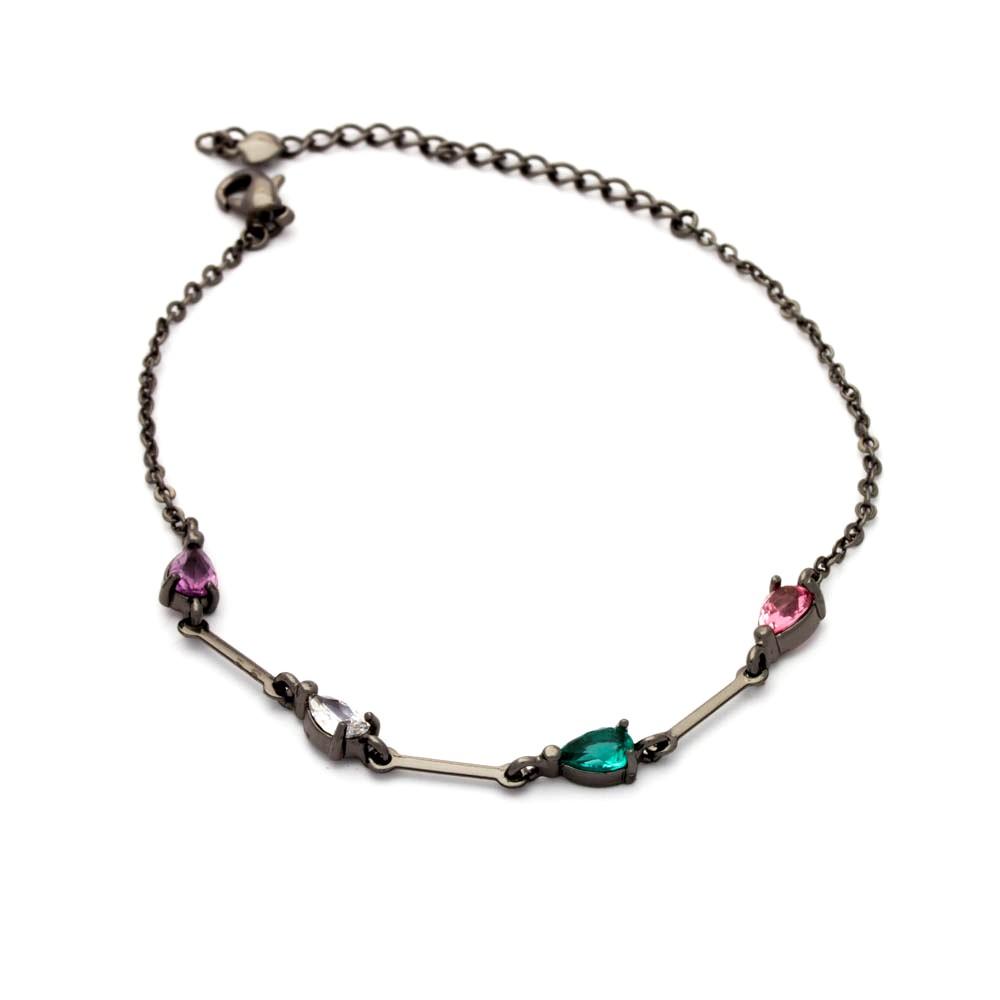 Pulseira gota cristais coloridos banhado em ródio negro